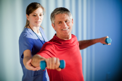 Physical therapists working with strength